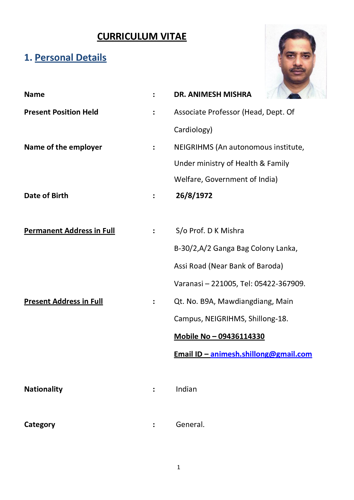 course for curriculum vitae