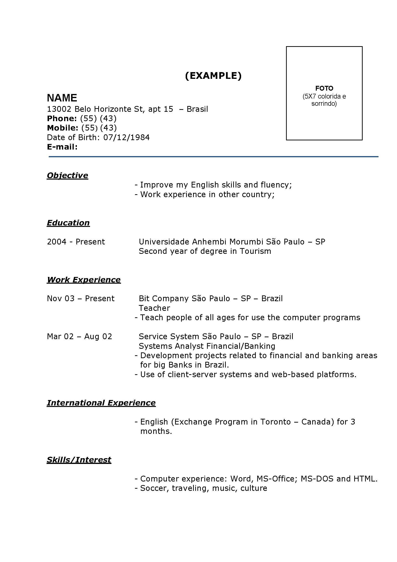 Modelo De Currículo Pronto Exemplos Grátis