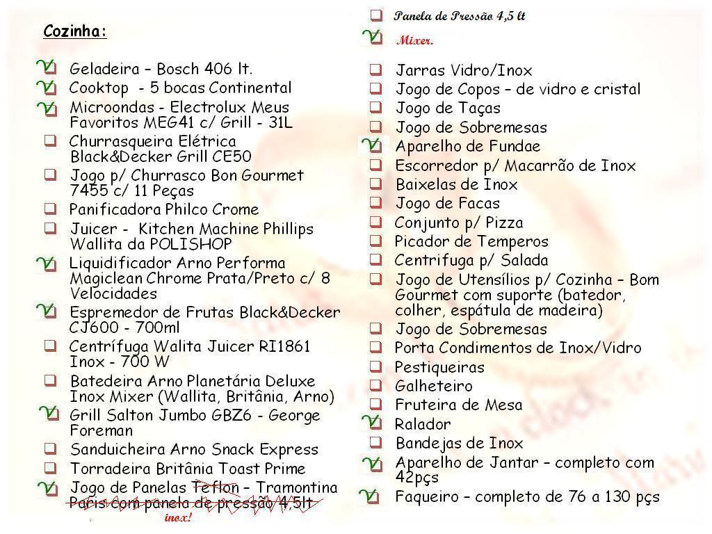 Lista De Presentes De Casamento Como Preparar ~ Lista Chá De Cozinha Pronta
