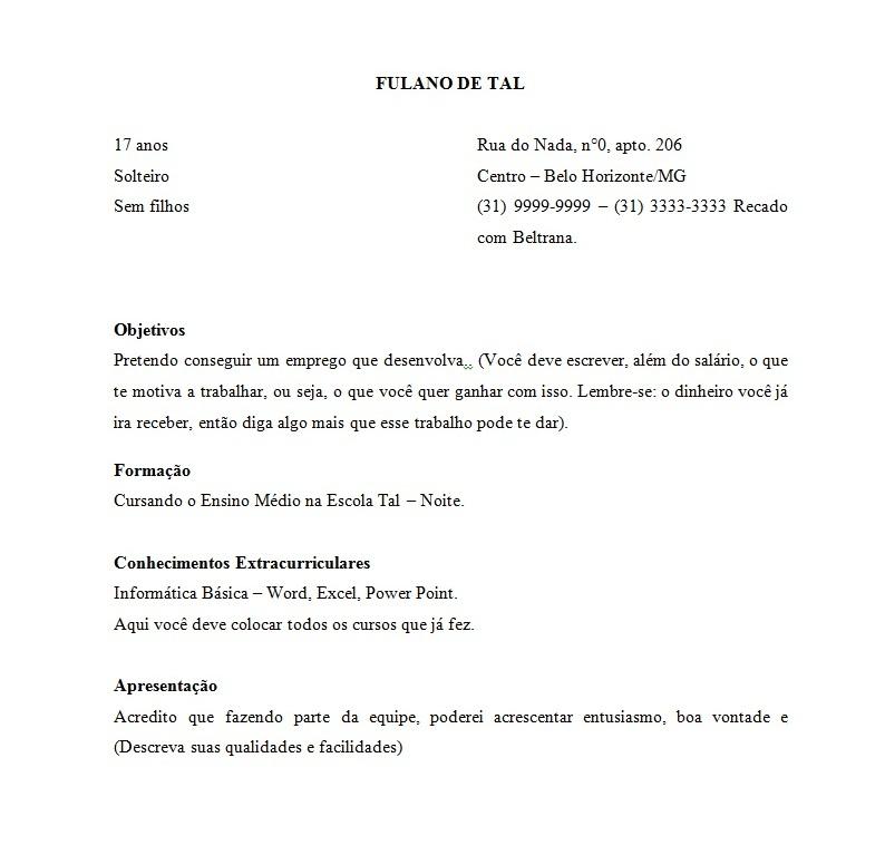 Curriculum Vitae Primeiro Emprego 2014 To Write An Essay